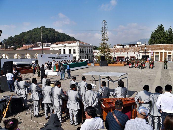 People at town square in san cristobal de las casas