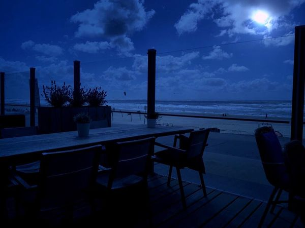 Sea Table Sky Horizon Over Water Night Water Cloud - Sky Chair Beach Scenics No People Nature Outdoors