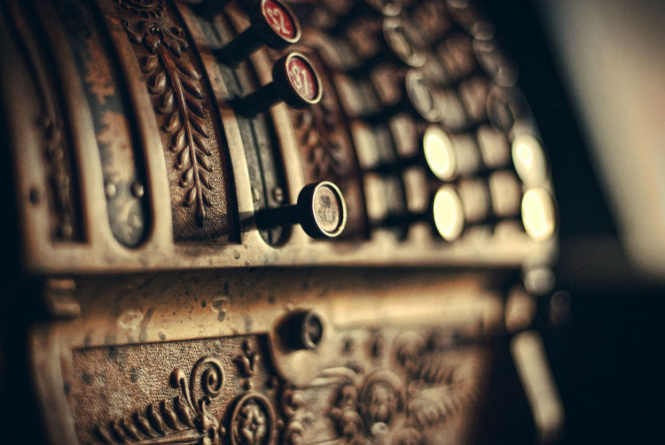 Close-Up Of Antique Cash Register