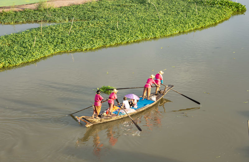 High angle view of people in boat on lake