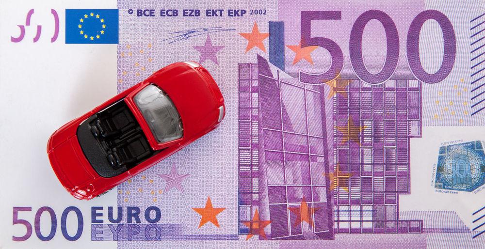Toy car on euro