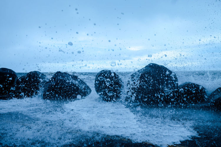 Splashing waves at beach