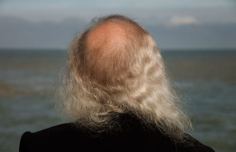 Rear View Of Man With Receding Hairline Against Sea