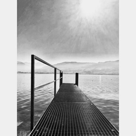 Black And White Blackandwhite EyeEm Selects Water Sky Nature Day Cloud - Sky Beauty In Nature Pier Horizon Over Water The Way Forward