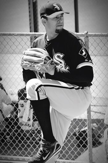Spring Training Blackandwhite Black & White Chicago White Sox Real People One Person Fence Leisure Activity Lifestyles Full Length Day
