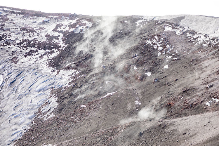 Etna Volcano Crater Mountain Winter Snow Sicily Italy Ash Nature No People Day Beauty In Nature Outdoors Scenics - Nature Geology Physical Geography Rock Landscape Environment Close-up Land Non-urban Scene Rock - Object Tranquil Scene Tranquility Solid Power In Nature Mountain Peak