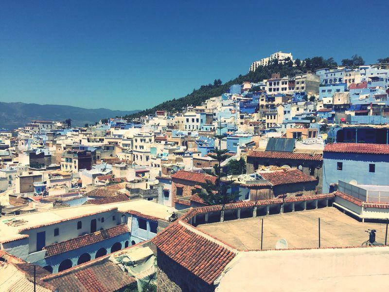First Eyeem Photo Chefchaouen Morocco Maroc 摩洛哥 舍夫沙万 蓝色小镇 蓝 Blue Bleu 全景 Panoramic