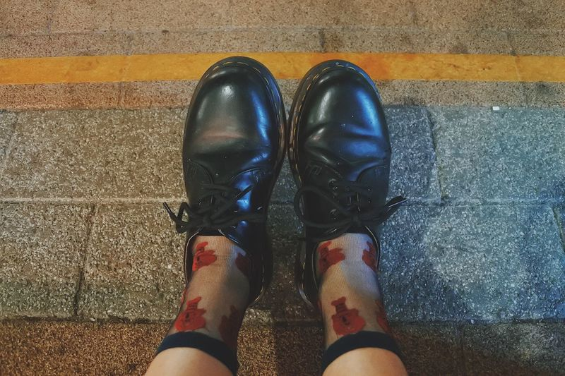 Low Section Human Leg Shoe Real People Personal Perspective Human Foot One Person Human Body Part High Angle View VSCO Vscocam Vscogood Dr Martens Boots Socks Hipster Chill Lifestyles Day Outdoors Directly Above Women Close-up Adult People