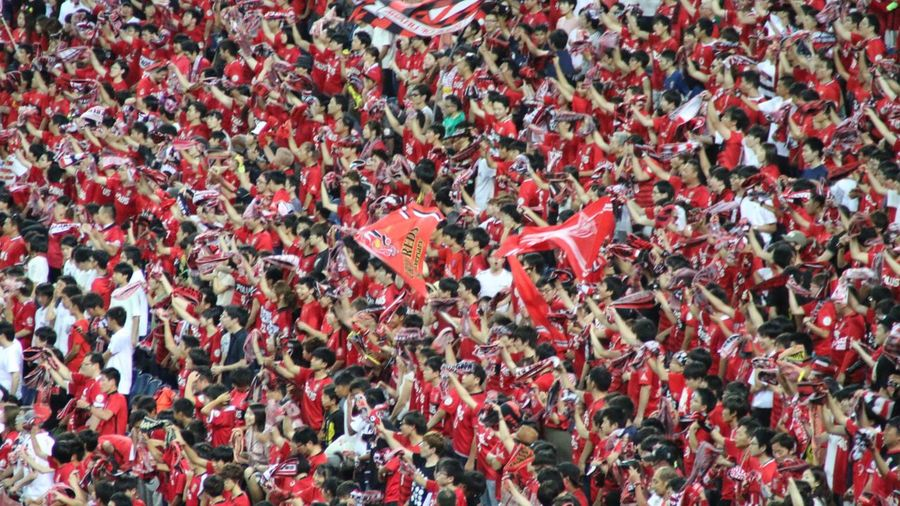 Large Group Of People Close-up Focus On Foreground Looking At Camera Crowd Red Day Abundance Outdoors Celebration Full Frame Fan - Enthusiast Real People Human Body Part People Soccer Urawa Reds Japan Japan Photography Canon Canon 70d