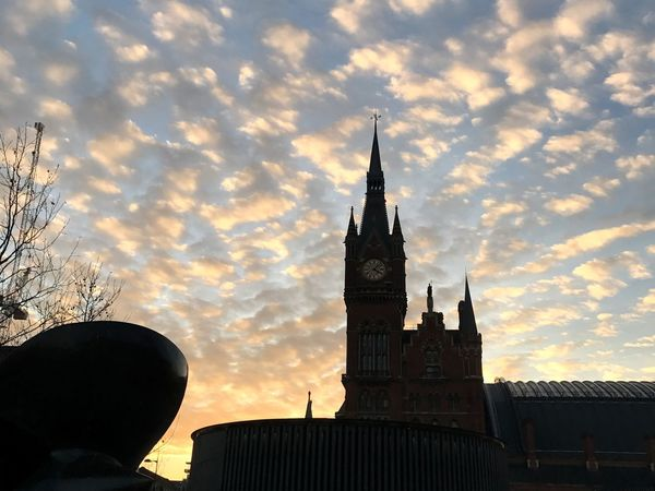 Kings Cross St Pancras Station Clouds Cloudscape Clouds And Sky Sunset Silhouette