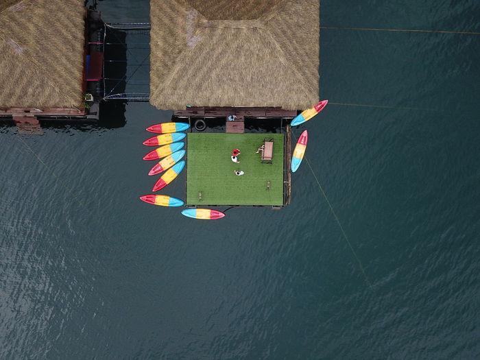 Directly above shot of kayak moored in lake