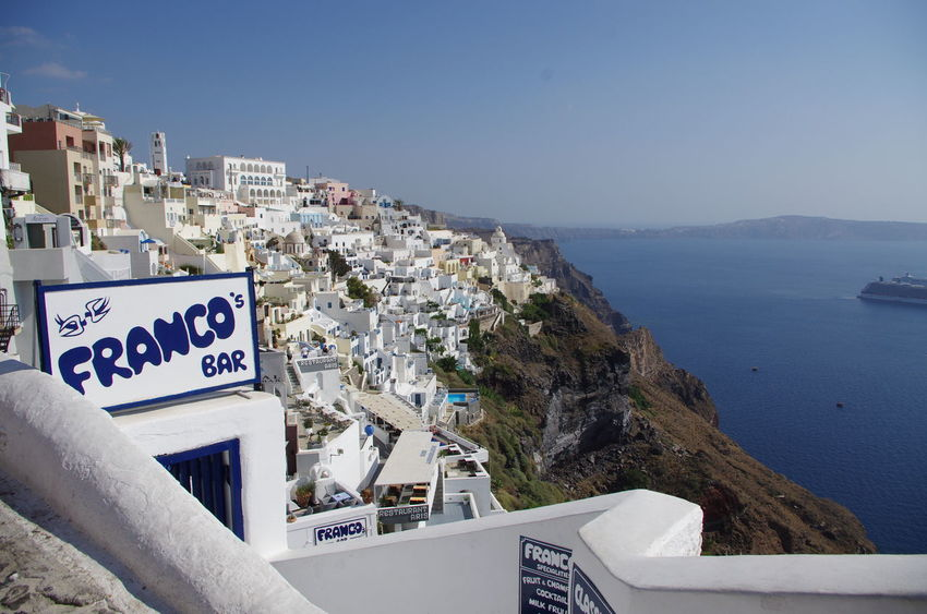 Griechenland Griechische Inseln Santorini Greece Santorini, Greece Architecture Beauty In Nature Blue Building Exterior Built Structure Clear Sky Day Mountain Nature No People Outdoors Santorini Sea Sky Water Whitewashed
