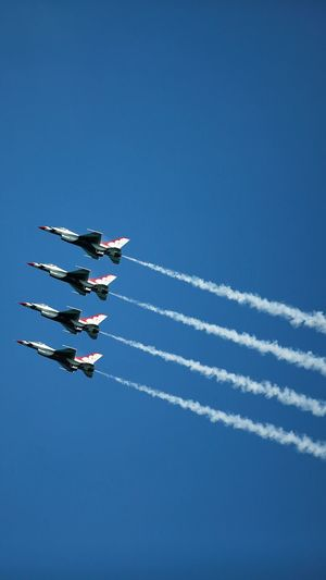 USAF Thunderbirds Air And Water Show In Formation Formation Formation Flying F18 Thunderbirds Thunderbird US Air Force United States Air Force Air Force USAF Jet Jets Sky Air Vehicle on the move Airplane Vapor Trail Airshow Day Blue Flying Teamwork Plane Motion Fighter Plane