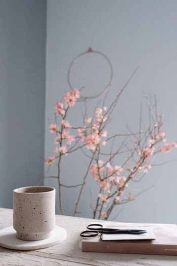 Grey Soft Calm Rosé Flowers Branch Bloom Table Setting Interior Spring Ceramic Cup Table Indoors  No People Day Close-up