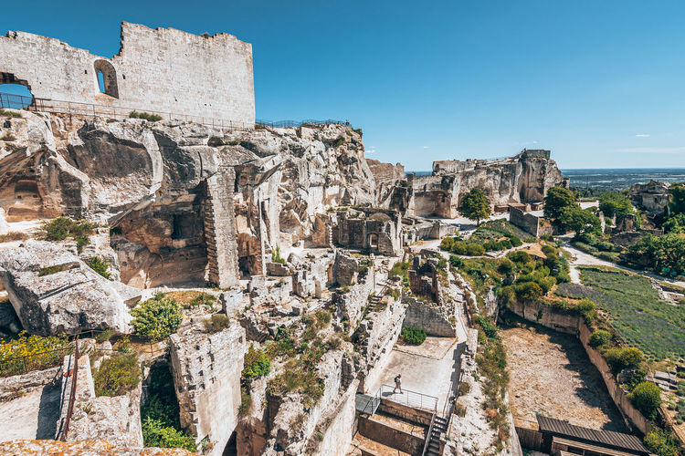 Aerial view of old ruins against sky