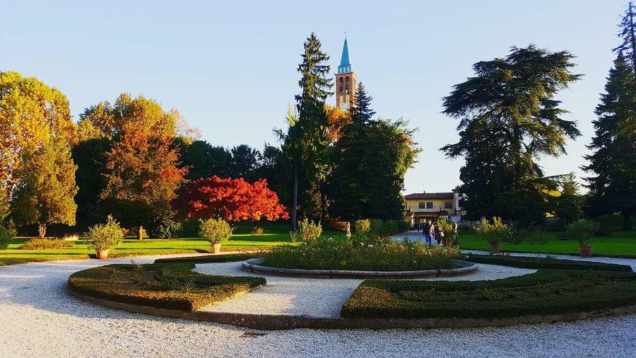 Tree Fountain Clear Sky No People Sky Outdoors Villa Garden Colors Autumn Autumn Colors Sovizzo