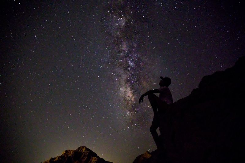 Low angle view of silhouette man against sky at night