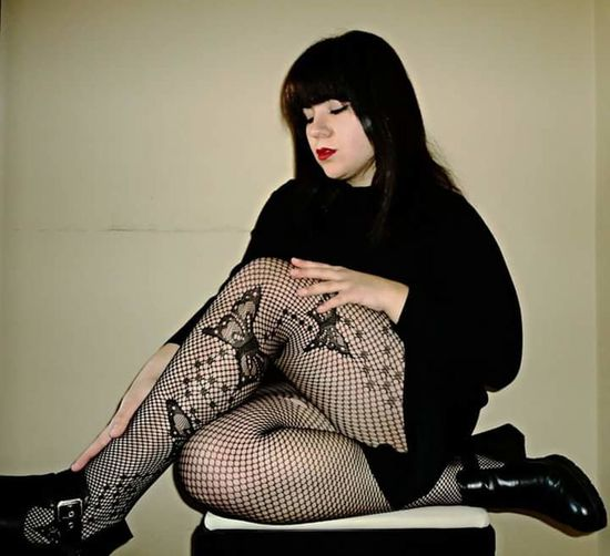 Sitting Beauty People Indoors  Beautiful Woman Young Women Photography Gothic Beauty  Gothic Girl Gothic Style Sexylady Red Lipstick Red Lips Photography Fishnets