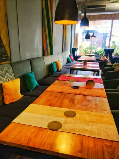 Table in illuminated room