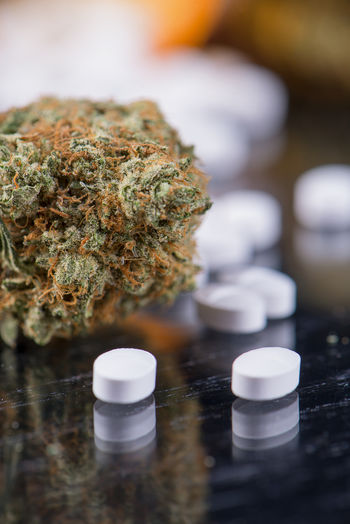 Close-Up Of Drugs On Table