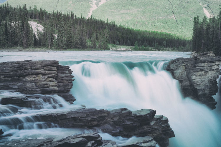 Beauty In Nature Blurred Motion Canada Day Flowing Water Forest Idyllic Long Exposure Motion Mountain Nature No People Outdoors Power In Nature Rapid Scenics Tranquil Scene Tranquility Tree Water Waterfall Athabasca Falls Athabasca Glacier Athabasca River AthabascaGlacier