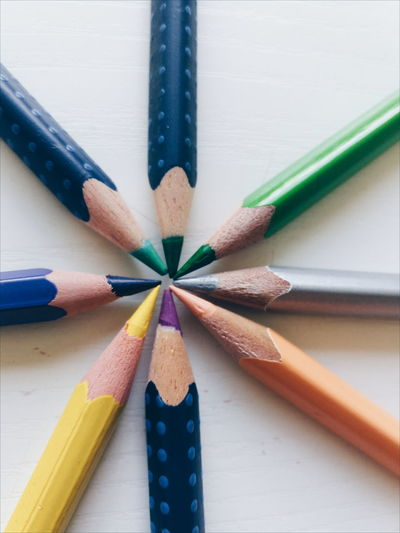 Directly Above View Of Colored Pencils On Table