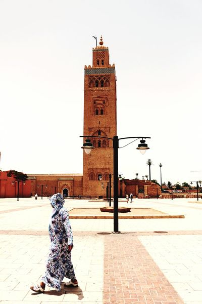Faith and religion Faith Religion Religious Architecture Outdoors Tower Mosque Jamaal El Fna Marrakech Medina, Morocco Outdoor Photography Marroco Arts Culture And Entertainment Culture Bestpic Travel Travel Destinations Travelphotography Simple Moments One Person Façade Embrace Urban Life Finding New Frontiers Women Around The World