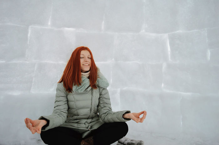 Frosty Hut Red-haired Girl 21-24 Years Beautiful Woman Blue Cold Temperature Females Front View Happiness Ice Igloo Lifestyle Long Hair Nature One Person Outdoors Sitting Smiling Snow Winter Young Women Winter Yoga Relaxation Happy People Enjoy The New Normal Always Be Cozy