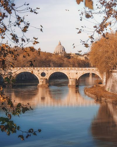 Architecture Built Structure Bridge Water Bridge - Man Made Structure Arch Connection Tree Arch Bridge Nature Reflection River Building Exterior Sky Plant Transportation Waterfront Day The Past Outdoors Tevere EyeEmNewHere EyeEm Best Shots Rome Italy