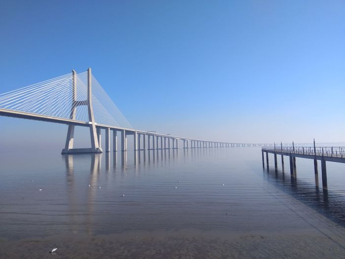 EyeEm Selects Water Outdoors Bridge - Man Made Structure Sky Day Tranquility Clear Sky Horizon Over Water Beauty In Nature Vasco Da Gama Bridge Tejo River Tejo Expo Riverside Photography River Bridge Ponte Vasco Da Gama Beauty In Nature Clear Sky Sea Blue Parque Das Nações Be. Ready.