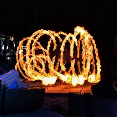 Firedancer in Boracay. Night Burning Flame Illuminated Glowing Long Exposure Outdoors Fire Firedancer Boracay Philippines Eyeem Philippines