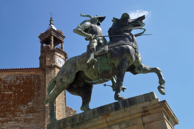 Pizarro Statue Low Angle View Sculpture Art And Craft Horse Day Outdoors Historical History No People
