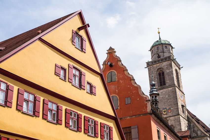 Architecture Blue Building Exterior Built Structure Church Cloud Cloud - Sky Day Dinkelsbuhl High Section Low Angle View No People Outdoors Place Of Worship Sky