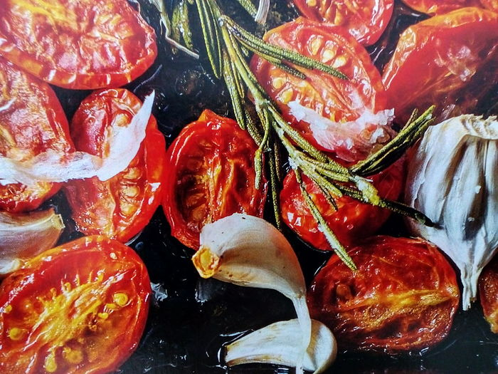 Cherry Tomatoes Roasted Garlic Cloves Full Frame No People Food Healthy Eating Indoors  Close-up