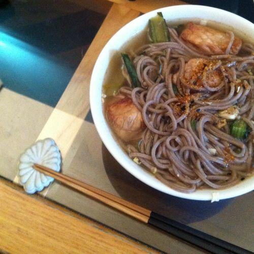 Homemade miso soup with soba today... Rainy Sunday