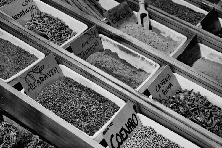Tea and more tea Tea Leaves Tea EyeEm Selects Blackandwhite Photography Black And White High Angle View Price Tag Non-western Script Stall Information Sign For Sale Shop Various Display Market Stall Retail Display Farmer Market