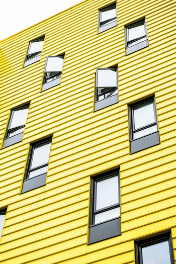 Habitations Louise-Beauchamp - GR7 Architecture Lines And Shapes Lines Windows Window Canada Quebec Laval Architecturephotography Architecture_collection Architecture Yellow Backgrounds Full Frame Day Outdoors No People