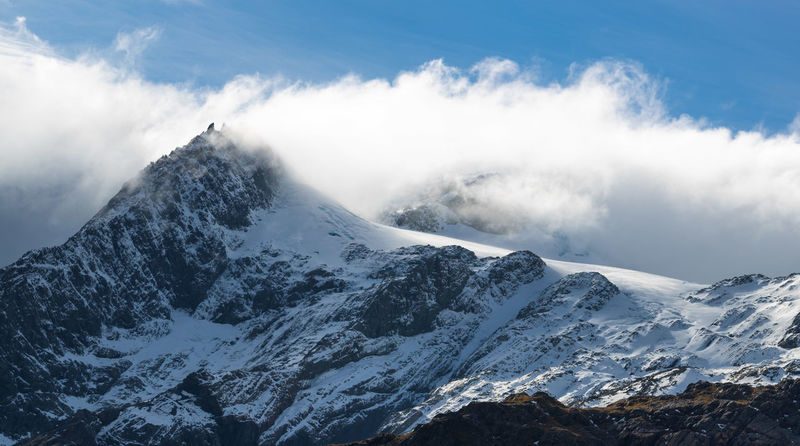 Cloudy mountain peak Routeburn Track Hike Mountain Snow Cold Temperature Winter Scenics - Nature Sky Snowcapped Mountain Mountain Range Landscape Beauty In Nature Environment Cloud - Sky Mountain Peak Outdoors High Up No People Sport Day Nature