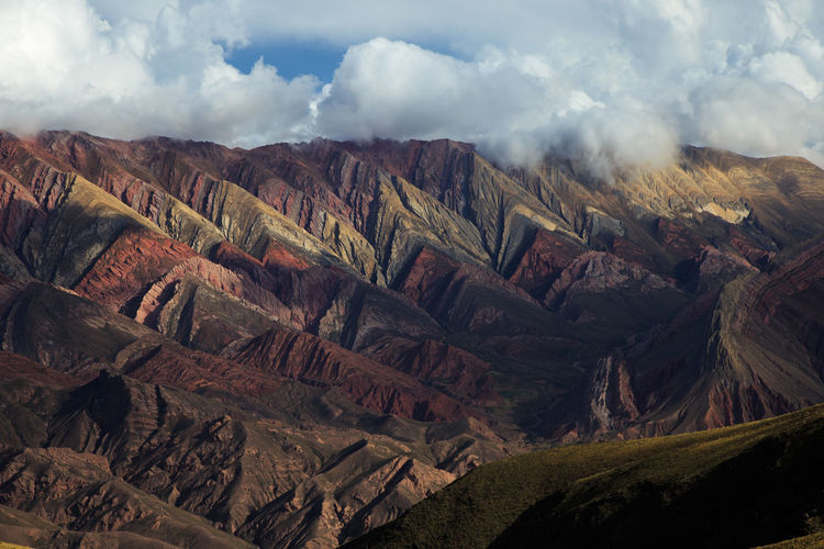 Panoramic view of landscape and mountains against sky. touristic place, jujuy, argentina