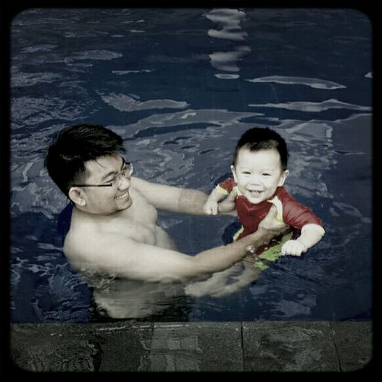 See... He enjoys his swimming time. I'm Proud of you son..