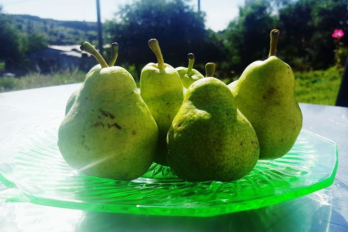 Scent of Summer Antique Glass Fresh Fruit Fruit Plate Fruit Dish Garden Photography Tree Fruit Close-up Green Color Food And Drink Pear