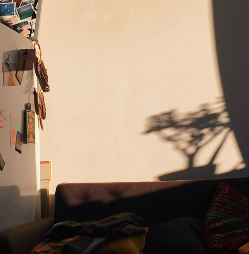 Shadow of person on sofa against wall at home