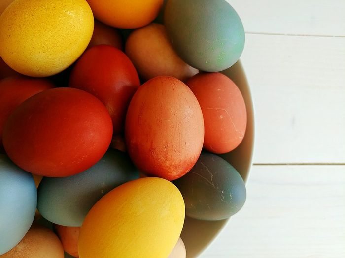 Easter eggs. Easter Egg White Backgrounds Colorful Colors Different Red Red Color Yellow Orange Color Blue Plate Close-up Sweet Food Eggshell Animal Egg Egg White Easter Egg Prepared Food EyeEmNewHere
