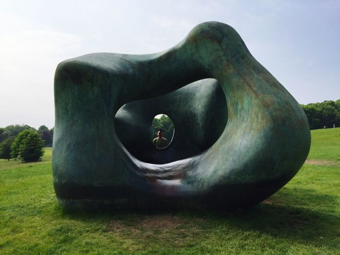Grass Sculpture Statue Art And Craft History Green Color Sky Tranquil Scene Ancient The Past Tranquility Famous Place Memories Creativity Day Monument Messy Outdoors Lawn Henry Moore Two Large Forms