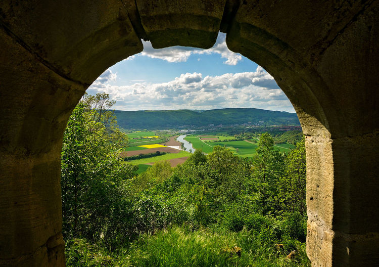 Framed View Observation Point Arch Bad Sooden-allendorf Castle View  Day Germany Landscape No People Sky Stone Arch Werra Window View