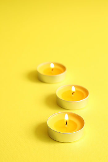 Colors Still Life Studio Shot Light Candle Aroma Arrangement Candlelight Decoration Romantic Wax Spa Relaxing Colored Background Yellow