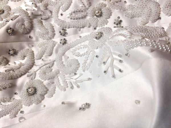 Backgrounds Pattern Full Frame White Beads Beaded Couture Details Lace - Textile Close-up Beauty Shiny No People Indoors  Wedding Dress