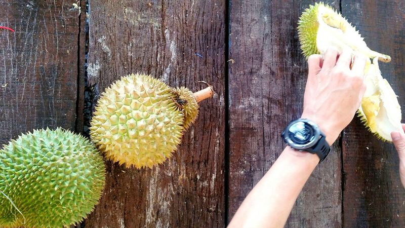 Fruits Top View Asian  ASIA Hand King Of Fruits Durians Wooden Table