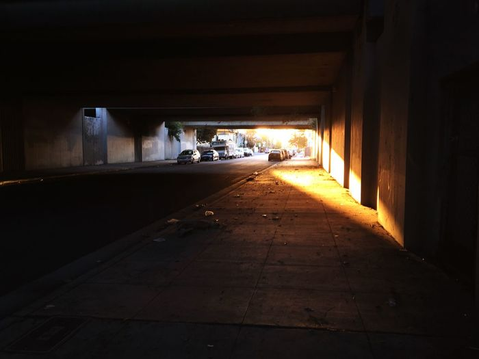 Illuminated underground walkway