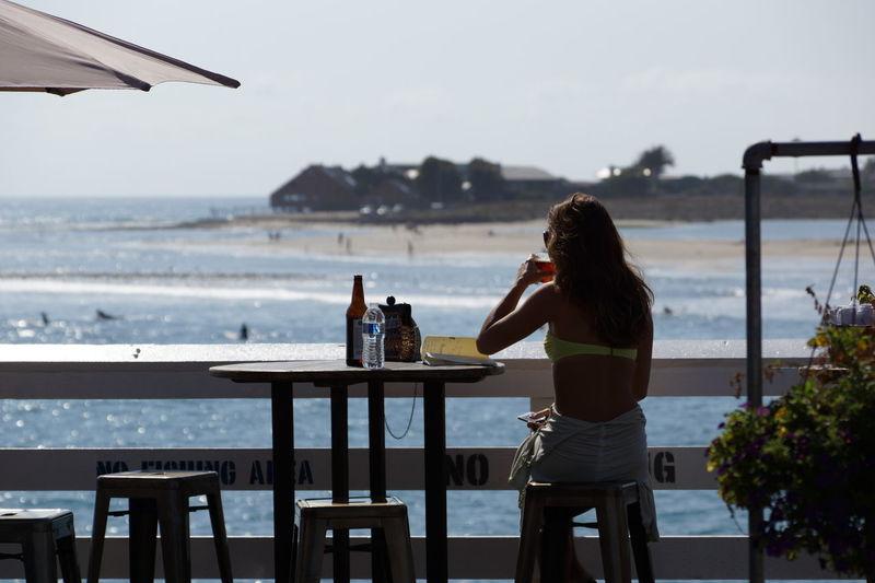 Malibu Beach Malibu Pier Having A Drink Woman Casual Clothing Surfing Beach Ocean View California